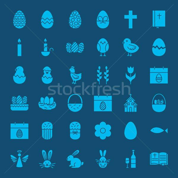 Easter Glyphs Website Icons Stock photo © Anna_leni