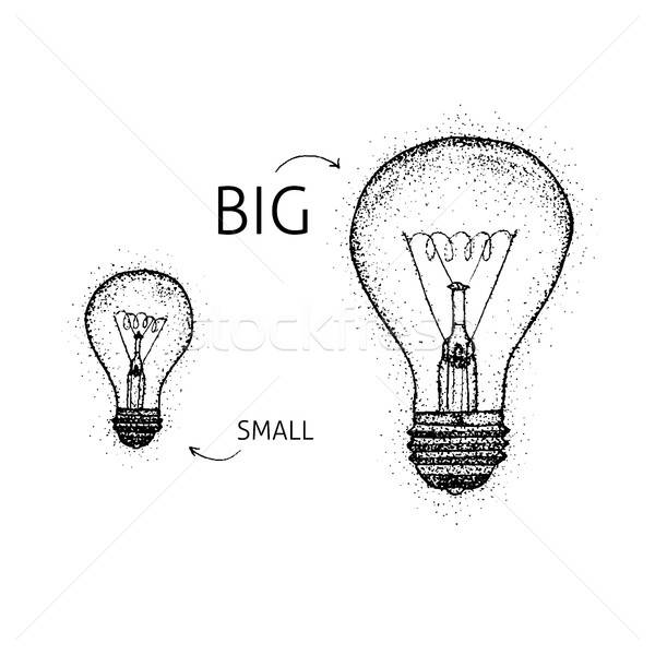 Dotwork Big Small Lightbulbs Stock photo © Anna_leni