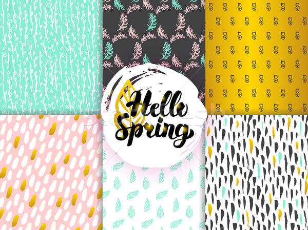 Spring Funky Seamless Patterns Stock photo © Anna_leni
