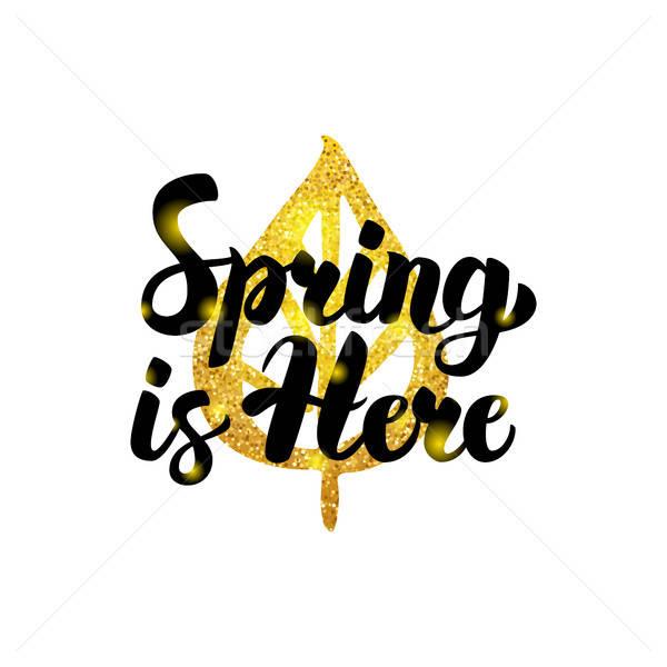 春 ここで 金 碑文 自然 工場 ストックフォト © Anna_leni