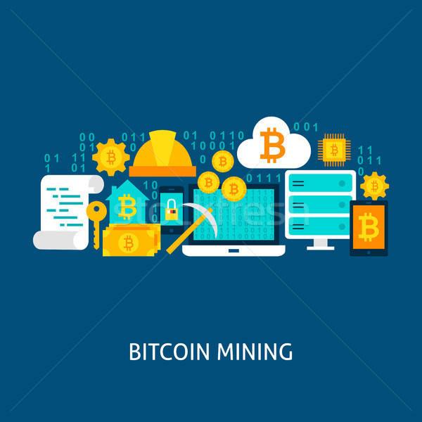 Bitcoin madencilik vektör poster dizayn ayarlamak Stok fotoğraf © Anna_leni