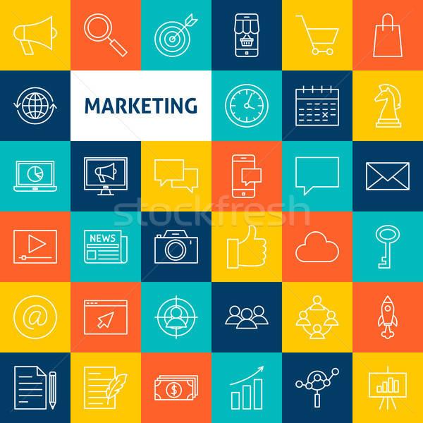 Vector Marketing Line Icons Stock photo © Anna_leni