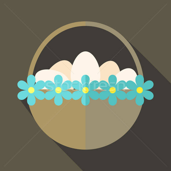 Easter basket with flowers and eggs Stock photo © Anna_leni