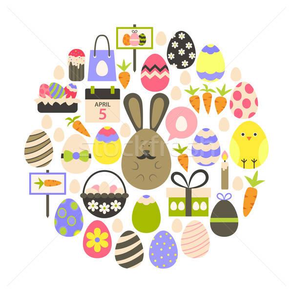 Easter holiday Flat Icons Set over white Stock photo © Anna_leni