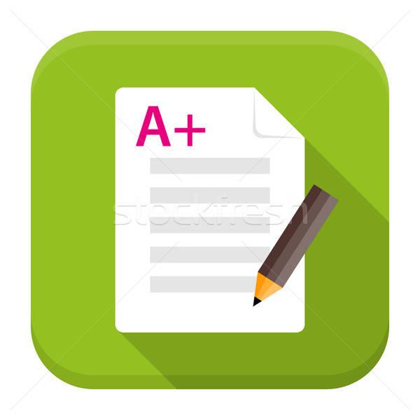 Sınav hazırlık uygulaması ikon uzun gölge Stok fotoğraf © Anna_leni