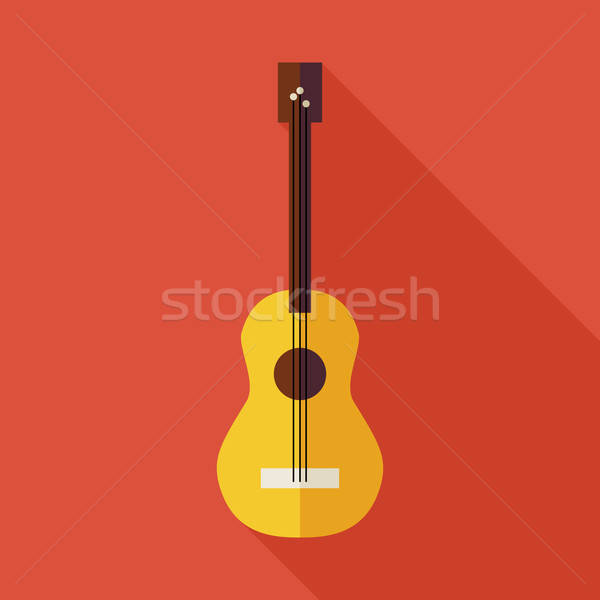Flat Music String Guitar Illustration with long Shadow Stock photo © Anna_leni