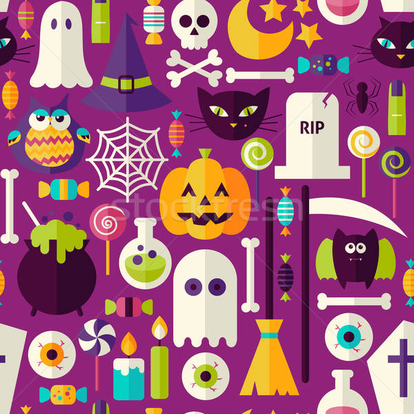 Flat Purple Halloween Trick or Treat Objects Seamless Pattern Stock photo © Anna_leni