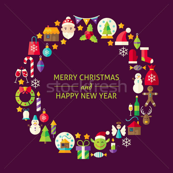Stockfoto: Vrolijk · christmas · nieuwjaar · vakantie · ontwerp · iconen