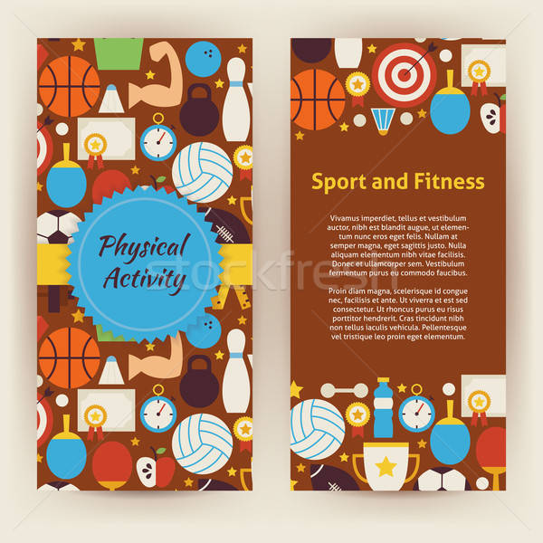 Flyer Template of Flat Sport and Fitness Objects and Elements Stock photo © Anna_leni