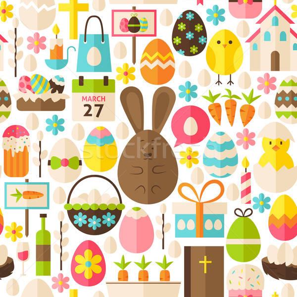 Kellemes húsvétot ünnep vektor fehér végtelen minta terv Stock fotó © Anna_leni