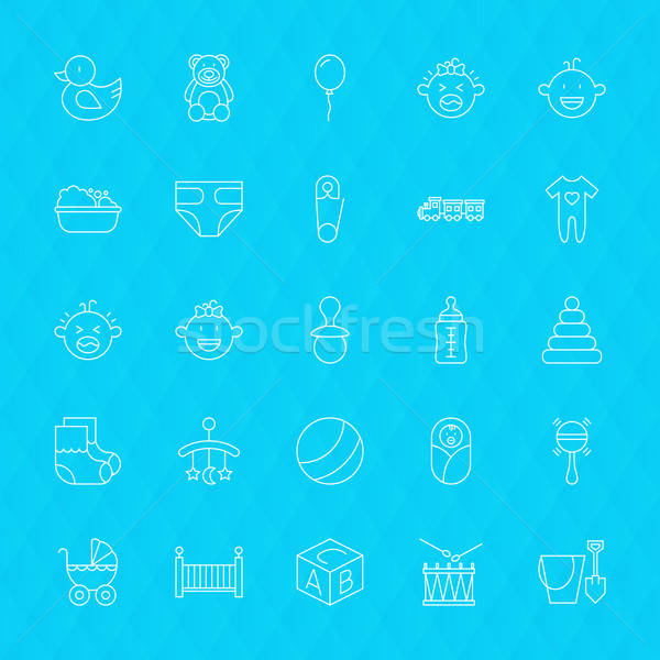 Toys and Baby Line Icons Set over Polygonal Background Stock photo © Anna_leni