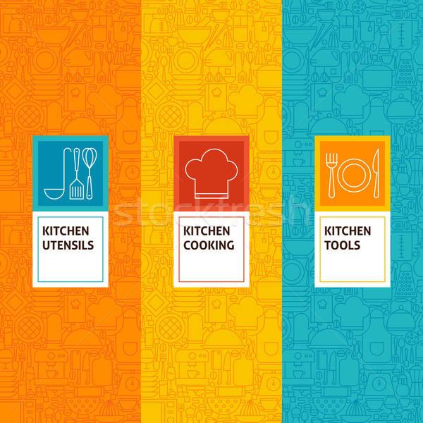 Line Kitchen Cooking Patterns Set Stock photo © Anna_leni