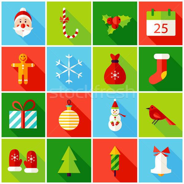 Stok fotoğraf: Noel · renkli · simgeler · kış · tatil · toplama