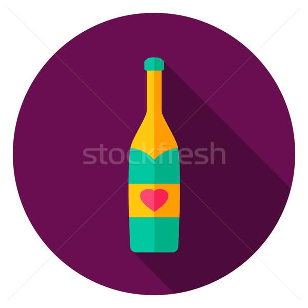 Stock photo: Champagne Bottle Circle Icon
