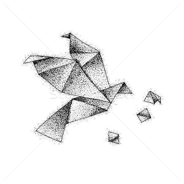Origami vogel papier vlucht tattoo Stockfoto © Anna_leni