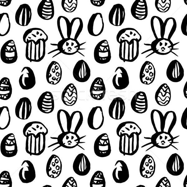 Grunge Brush Easter Seamless Pattern Stock photo © Anna_leni