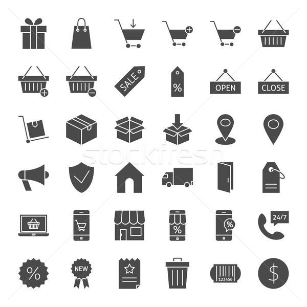 Commerce Solid Web Icons Stock photo © Anna_leni