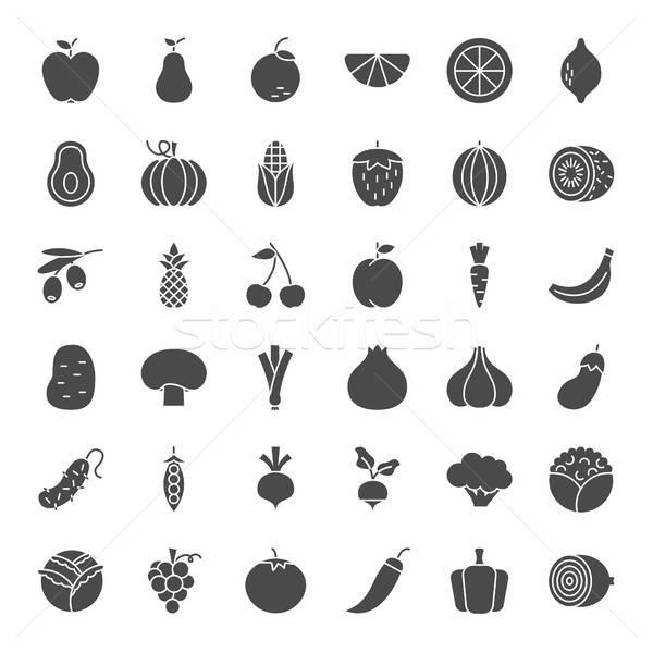 Frutas vegetales sólido iconos de la web vector establecer Foto stock © Anna_leni