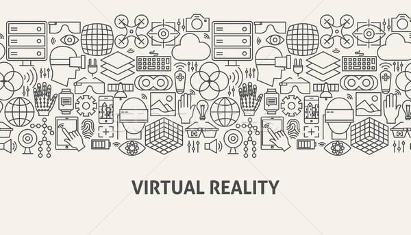 виртуальный реальность баннер линия веб-дизайна компьютер Сток-фото © Anna_leni