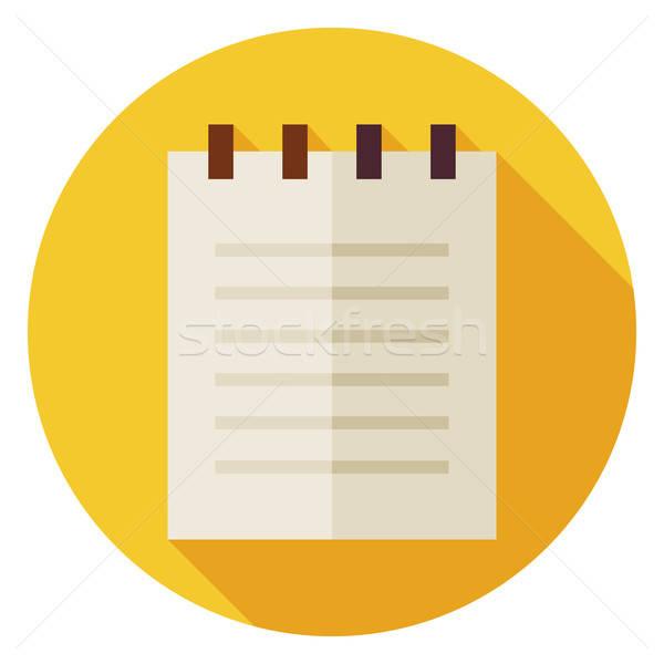 Iroda papír jegyzettömb kör ikon hosszú Stock fotó © Anna_leni