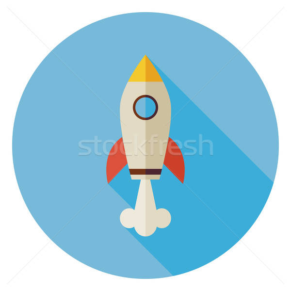 Flat Space Shuttle Rocket Circle Icon with Long Shadow Stock photo © Anna_leni