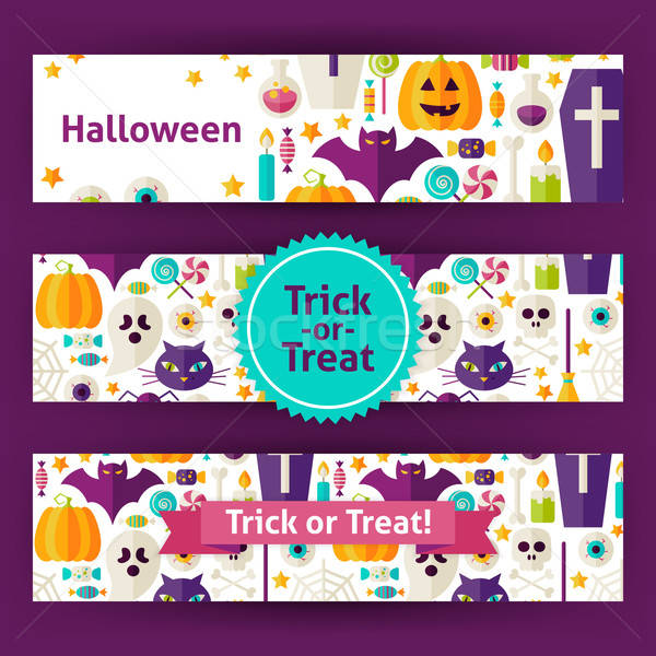 Halloween Trick or Treat Vector Template Banners Set in Modern F Stock photo © Anna_leni