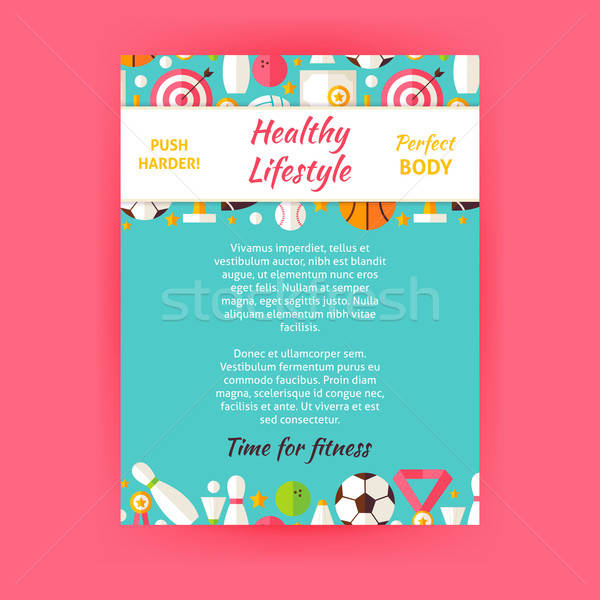 Healthy Lifestyle Sport Invitation Vector Template Flyer Stock photo © Anna_leni
