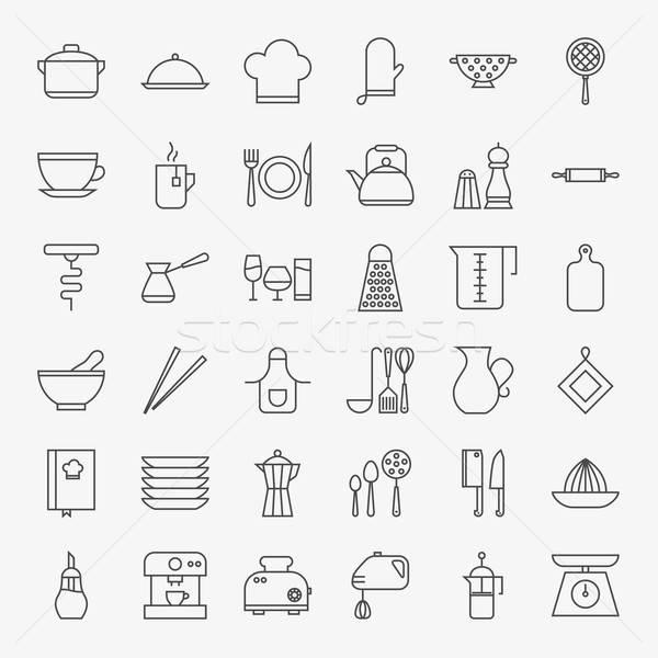 Kitchen Utensils Line Art Design Icons Big Set Stock photo © Anna_leni