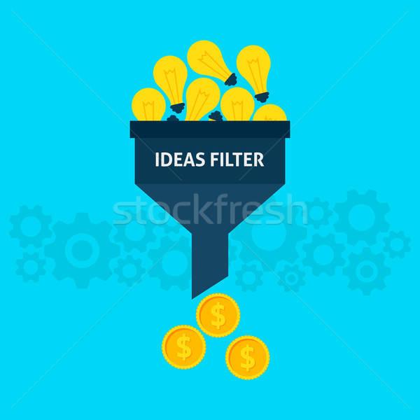 ötletek szűrő stílus adat tölcsér kreatív Stock fotó © Anna_leni