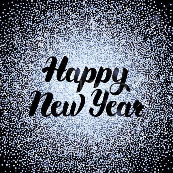 Gelukkig nieuwjaar zilver ontwerp schoonschrift decoratie Stockfoto © Anna_leni