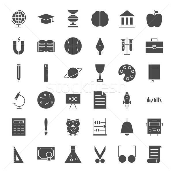 Educación sólido iconos de la web vector establecer escuela Foto stock © Anna_leni