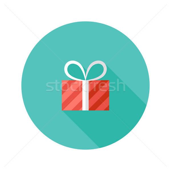 Christmas Stripped Present Box Flat Icon Stock photo © Anna_leni