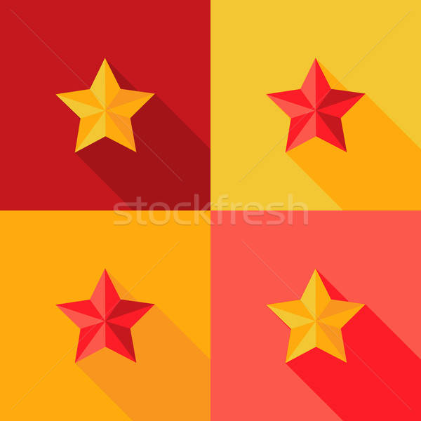 Christmas Yellow and Red Star Flat Set Icon Stock photo © Anna_leni