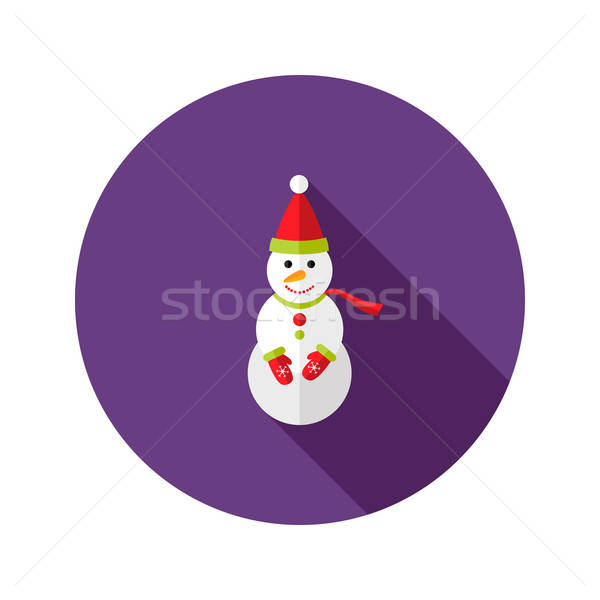 Christmas snowman Święty mikołaj hat ikona lodu Zdjęcia stock © Anna_leni