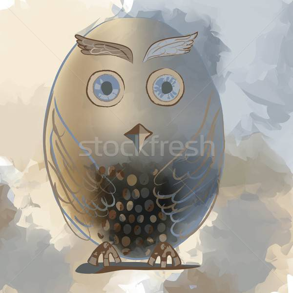 Illustration of grey and brown owl Stock photo © Anna_leni