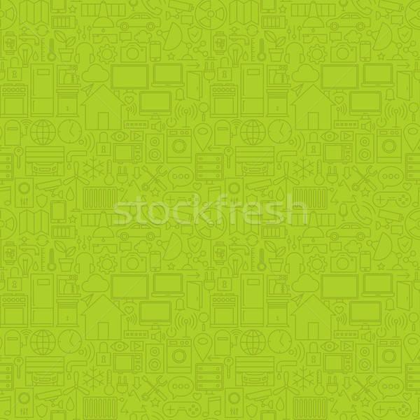 Groene dun lijn huis technologie Stockfoto © Anna_leni