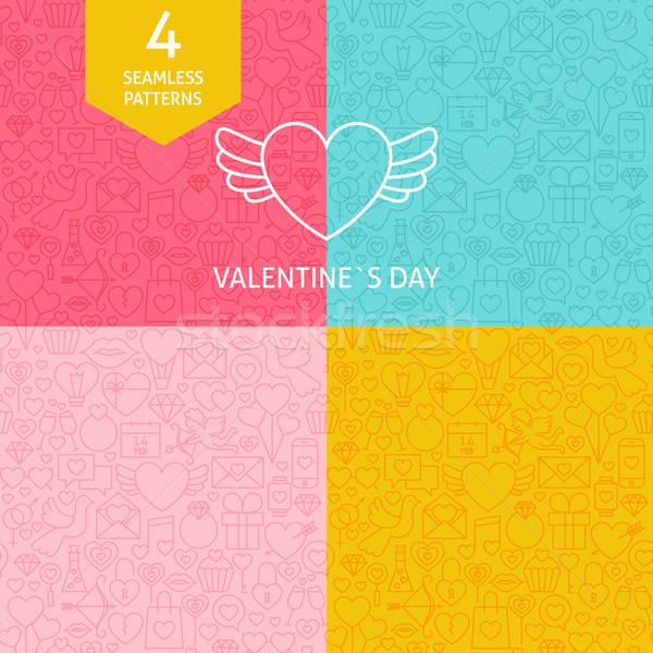 Thin Line Art Valentine Day Pattern Set Stock photo © Anna_leni