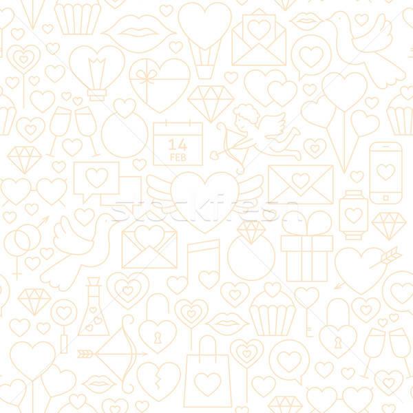 Thin Valentine Day Line Seamless White Pattern Stock photo © Anna_leni
