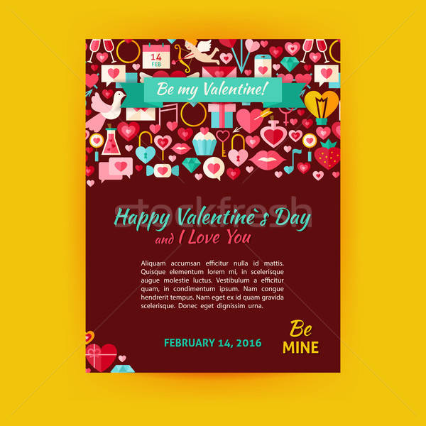 Happy Valentine Day Holiday Vector Template Banner Flyer Modern  Stock photo © Anna_leni