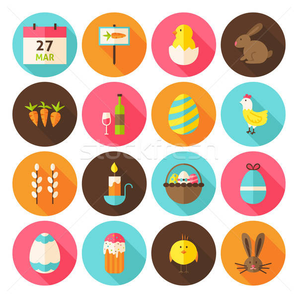 Stock photo: Happy Easter Holiday Circle Icons Set with long Shadow