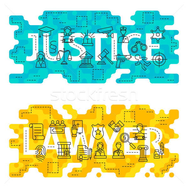 Justice Lawyer Outline Flat Concept Stock photo © Anna_leni
