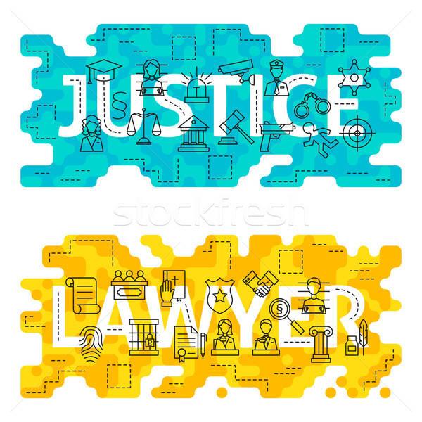 Gerechtigkeit Rechtsanwalt Gliederung Wort dünne line Stock foto © Anna_leni