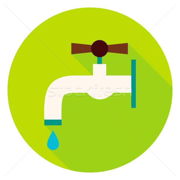 Watertap cirkel icon ontwerp lang schaduw Stockfoto © Anna_leni