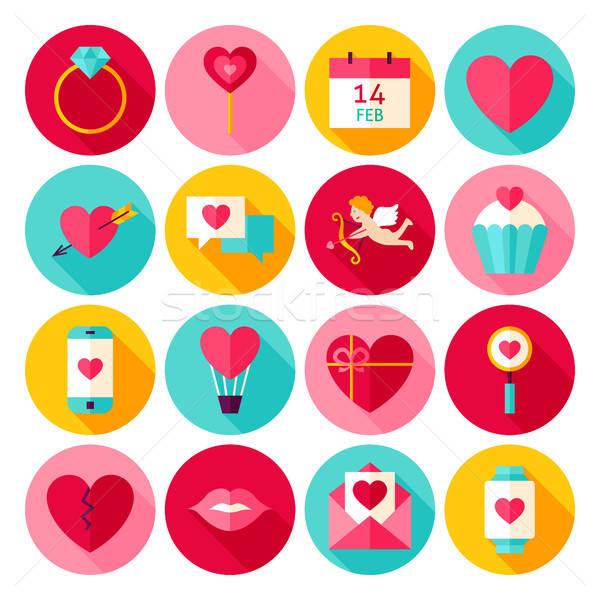 любви иконки счастливым праздник коллекция Сток-фото © Anna_leni