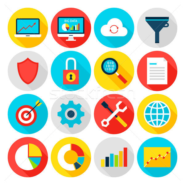 Stock photo: Big Data Analytics Flat Icons