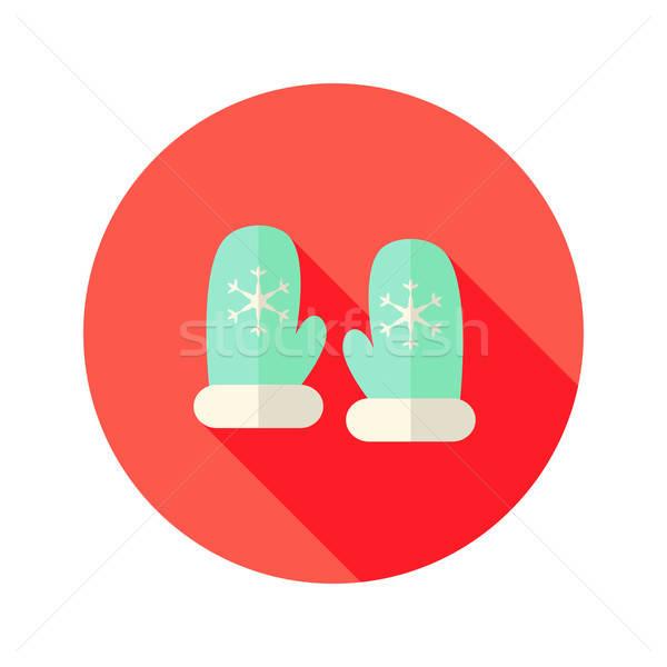 Weihnachten mint Handschuhe Schneeflocken Symbol Stock foto © Anna_leni