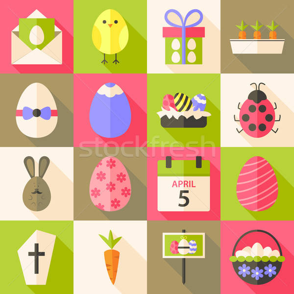 Easter flat styled icon set 4 with long shadow Stock photo © Anna_leni
