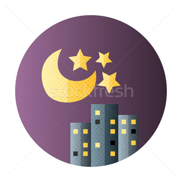Urban city night life flat circle icon Stock photo © Anna_leni