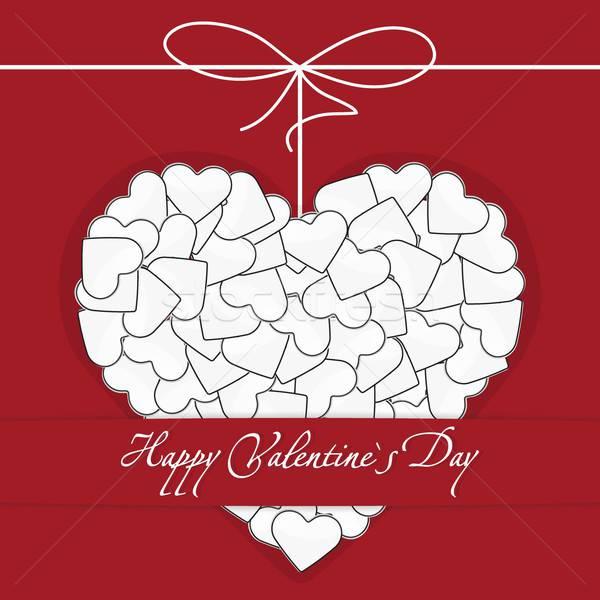 Postcard White heart made of many small hearts with bow-knot Stock photo © Anna_leni