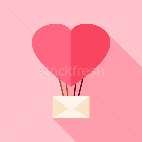 Heart shaped air balloon with envelope Stock photo © Anna_leni